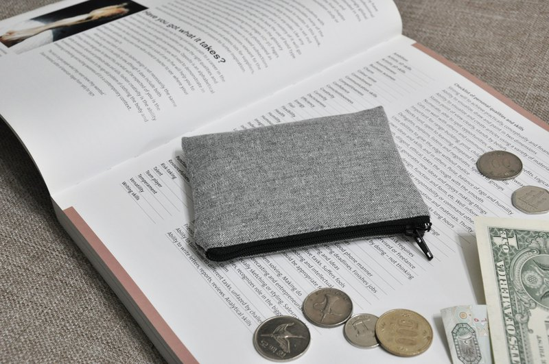 ENDURE Tannin Denim Light Gray Coin Purse / Linen Woven Grey / Japanese Fabric
