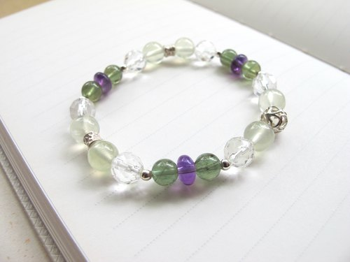 [Awake] green Phosphorescent x cut angle white crystal x grape stone x amethyst x 925 silver - handmade natural stone series