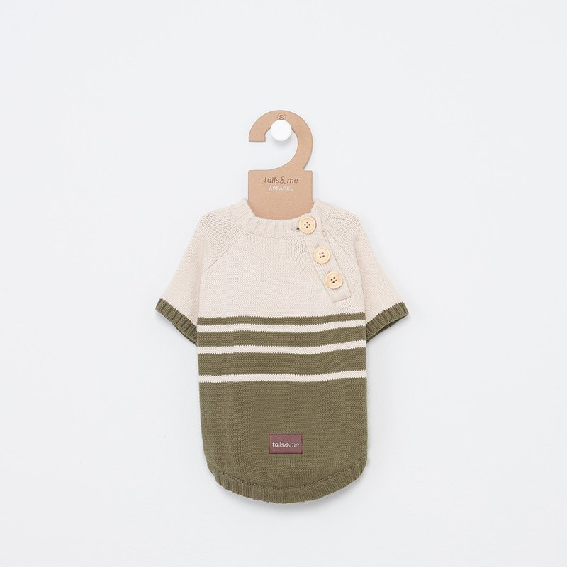 Tail and I】 【pet collar open collar sweater striped sweater green card