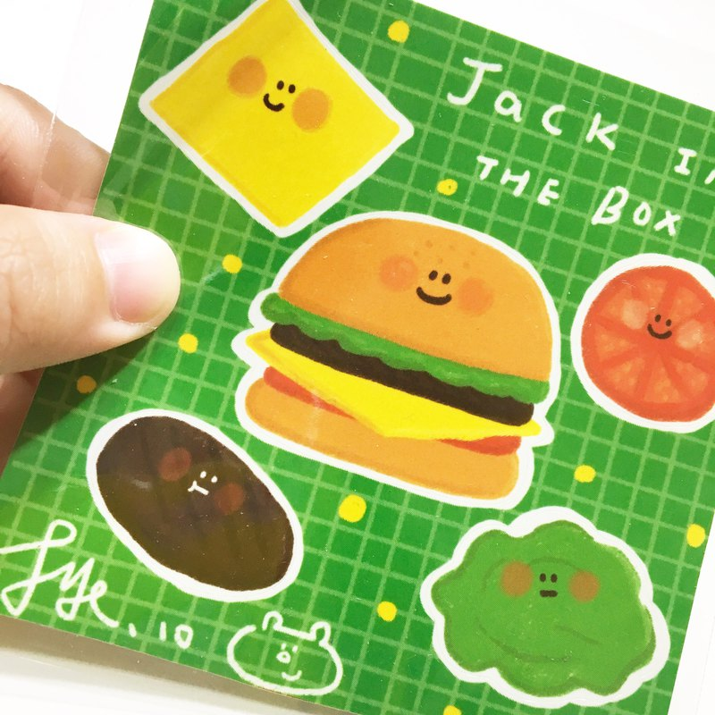 Jack in the box Fun burger knife die sticker