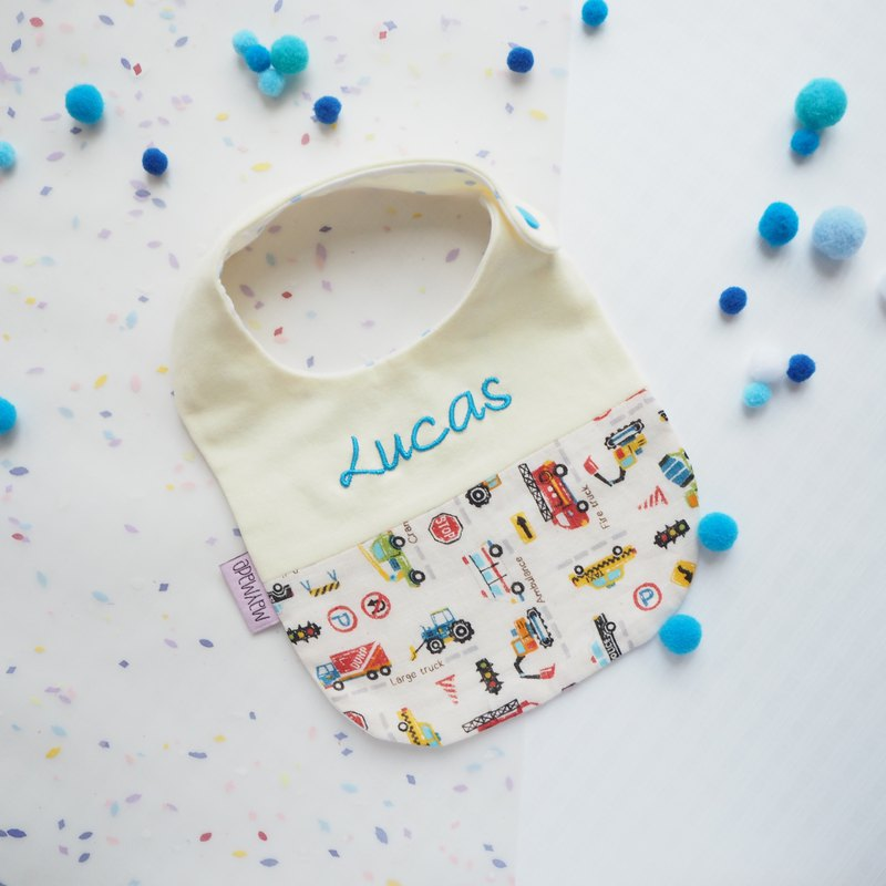 Handmade Name Embroidery Bib - Vocab & Vehicles Style