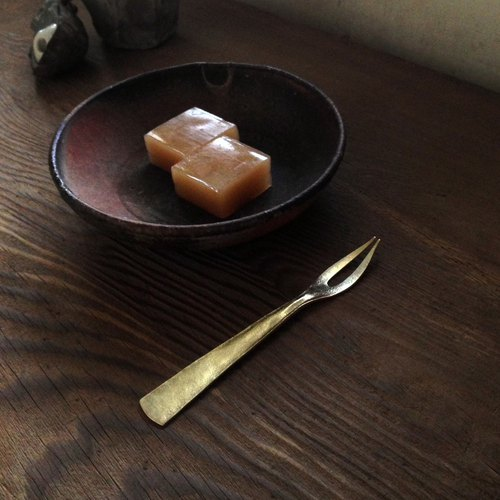 Brass fruit fork / dessert / real 鍮 / kitchen