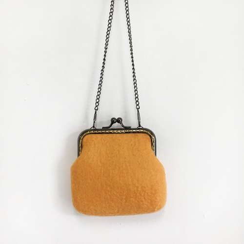 Yellow Wool Felt Clamp Bag / Coin Purse