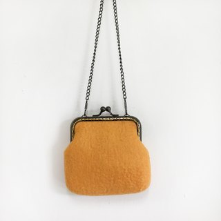 Yellow wool felt gold bag / purse