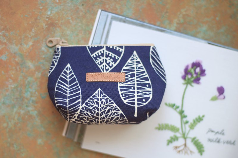 Hand made three-tier coin purse. Blue leaves
