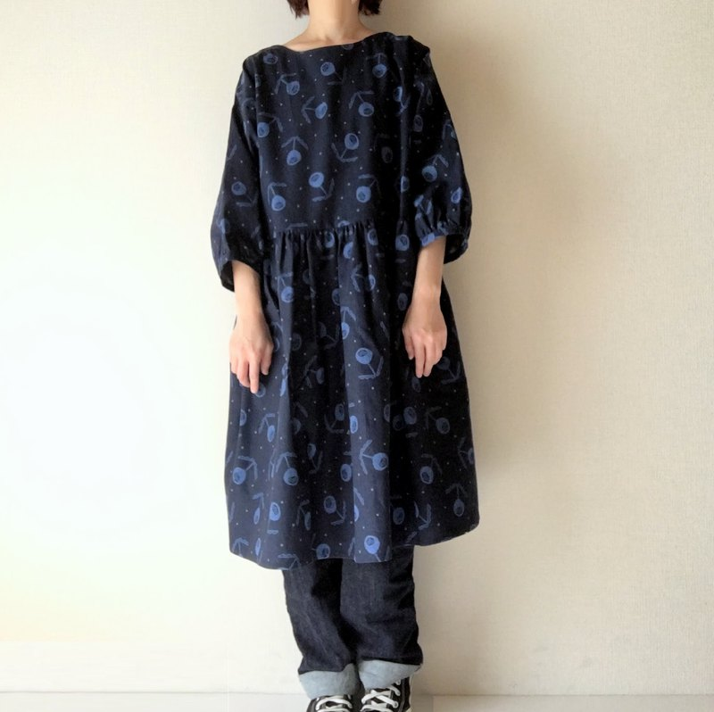 flower one-piece dress navyblue