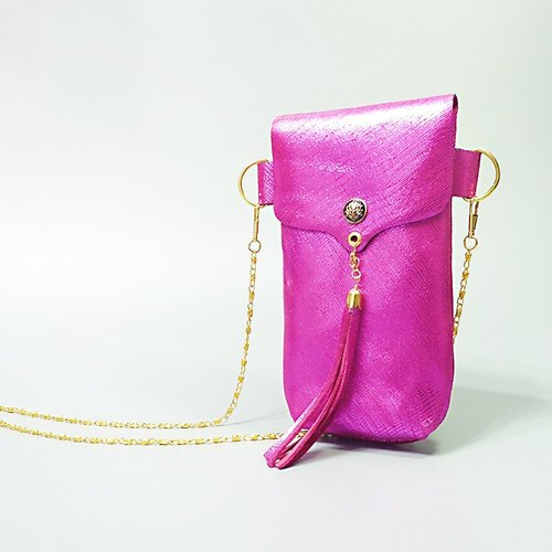 [ANITA] hand-made limited edition ‧ Workshop manual leather eye-catching brightly colored pink tassel chain shoulder bag / phone package - Specials