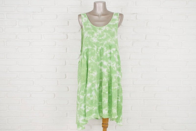 Uneven dyed tank top tiered beach dress <Green>