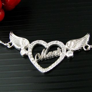 Customized heart .925 sterling silver jewelry AH00003- Angel Necklace