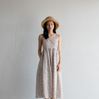 Camisole Linen Dress with Back Shell Button in White Blossoms