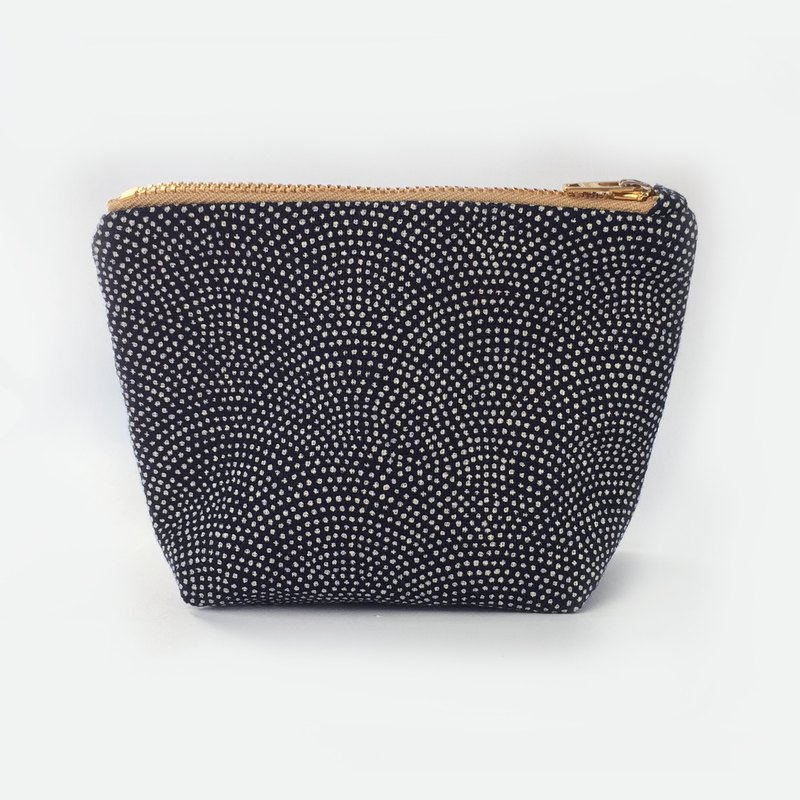 小钱包 Coin Purse Small Zipper Pouch- 鮫小紋 Japanese Indigo