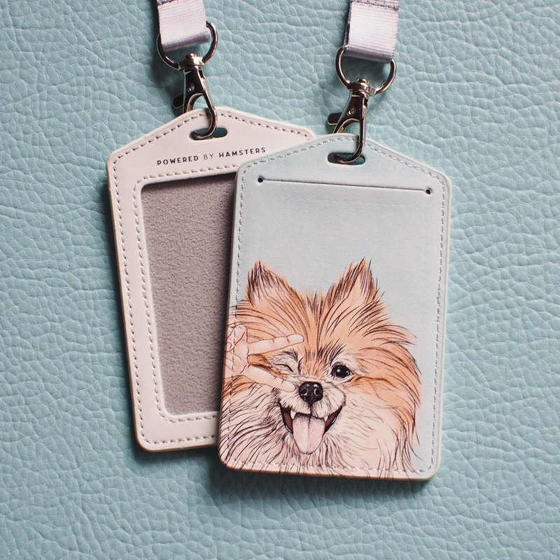 Dog Day, Pass Case with Neck Strap, Pomeranian