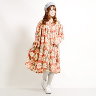 Snowflake crystal flower chest switch gather long sleeve shirt dress