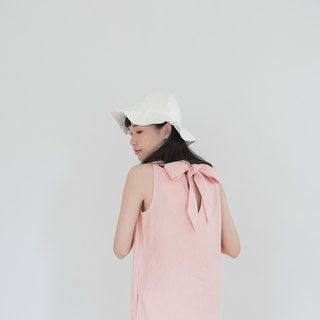 Soft Pink Big Bow Linen Dress