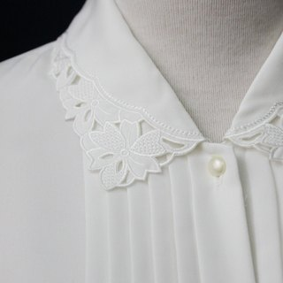 [RE0215T1764] Nippon forest department vintage flower embroidery collar white shirt