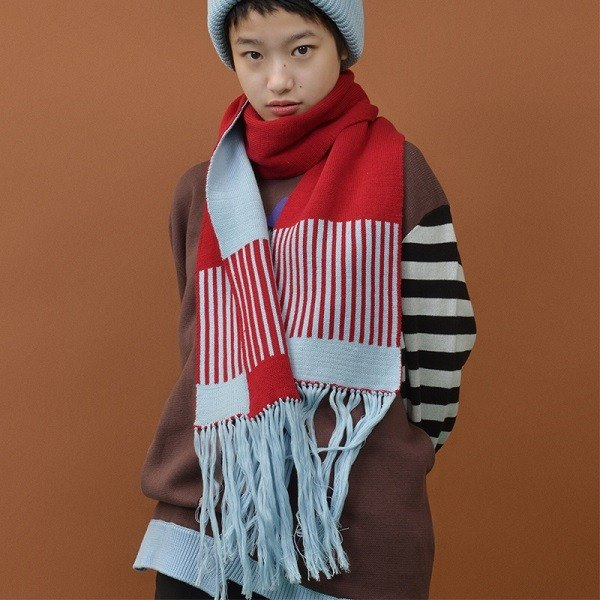 YIZISTORE new winter knit scarves female wild tassel long section printing large shawl collar couple