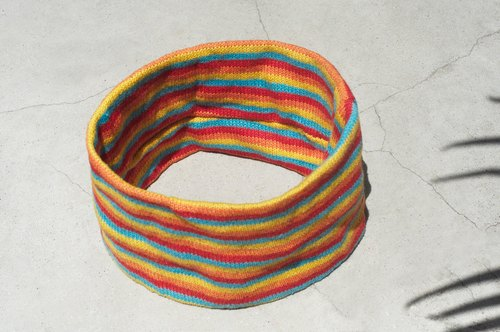 Valentine's Day handmade cotton braided hair band / braided colorful hair band / handmade hair band / knitted hair band / striped hair band-Sunlight rainbow color stripes