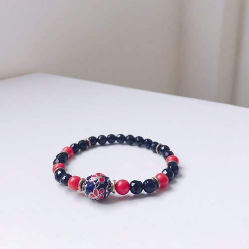 Blessing Bag Exclusives! Cloisonne Agate Coral Stone Bracelet