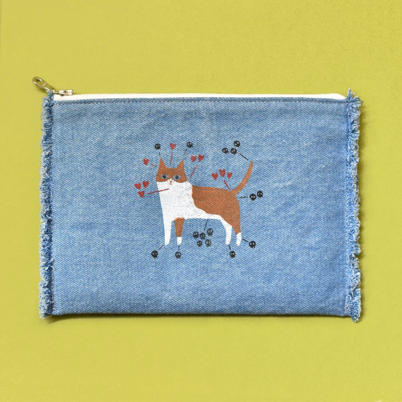 User guide cat instruction manual hand-printed washed blue denim cosmetic bag