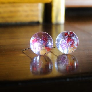 △ Epoxy glass ball earrings - Fushigi diffuse flower Fam
