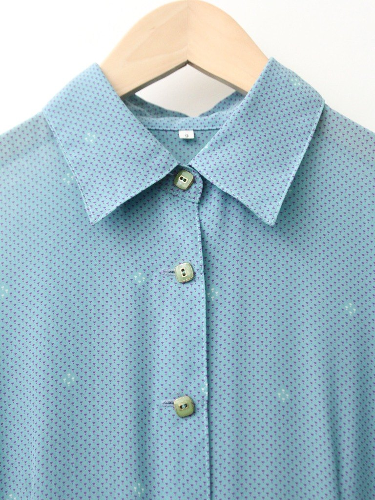 【RE0503D1101】 Japanese-made retro sweet and lovely water blue little-bit short-sleeved spring and summer ancient dress