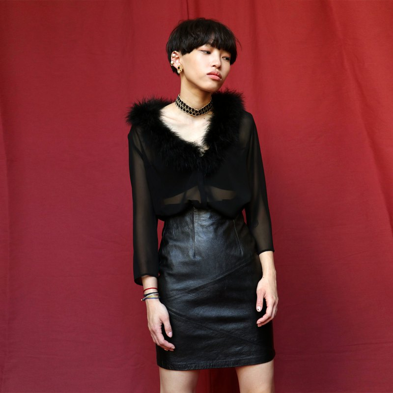 Pumpkin Vintage. Vintage leather black skirt