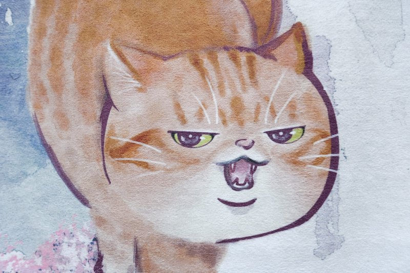 CROUCHING CAT TOWEL water colour painting