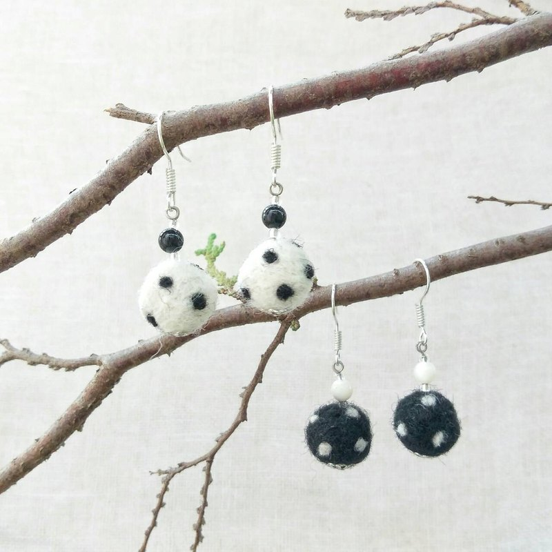 Handmade Felt Polka Dots Earrings with Shell Beads (Clip-on Available)