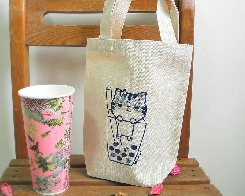 Canvas big drink bag small 歪歪 series - pearl milk tea hand-printed beverage bag