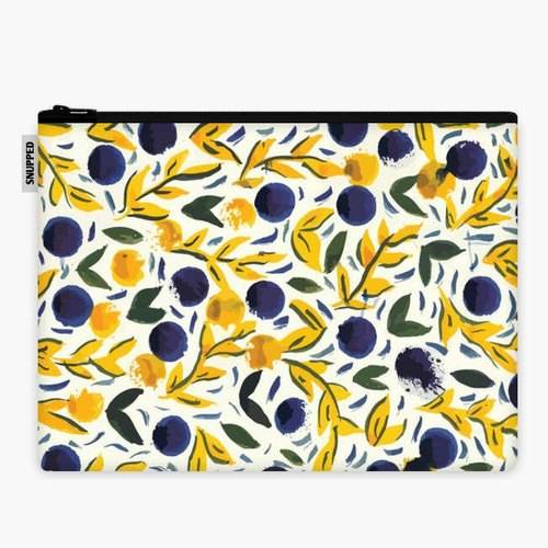 SpaceSuit - Document Pouch - Lemon Leaves and Blue Dots