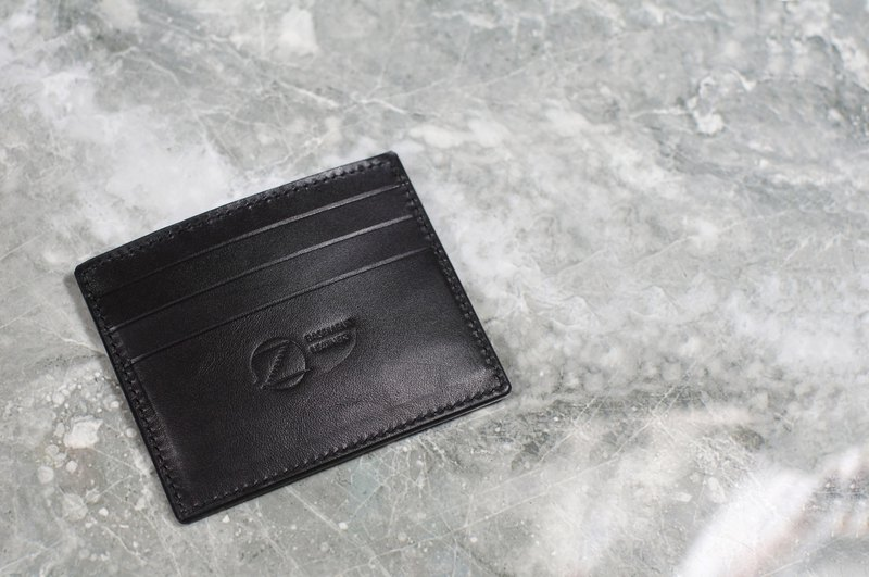 [Portable series] pure hand-stitched banknote card holder. Black Italian vegetable tanned leather
