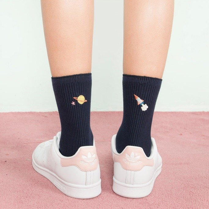 Dear My Universe back embroidered socks - dark blue