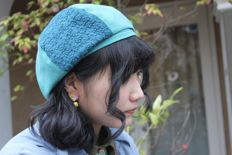 [hydrangea rain 莳] hand-printed beret / beret / painter hat