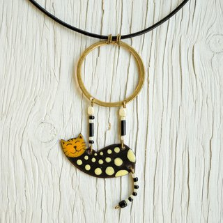 Spotty Cat, Enamel Necklace, Spotted Cat, Bengal Cat, Circus, Aerialist,