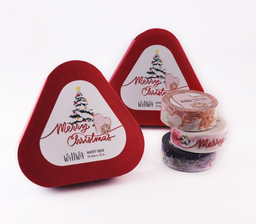 Holiday Washi Tape Gift Box - Christmas set of 3 washi tapes 15mmx10m