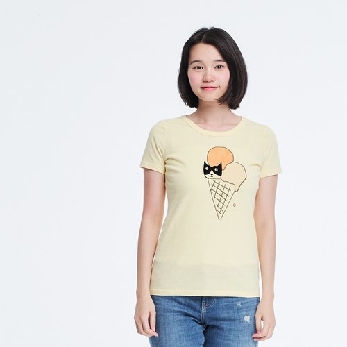 Cat and ice cream junk food peach cotton T-shirt Women