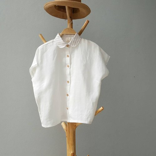 Linen Shirt with Wooden buttons (Short-sleeved)- Milk Tea