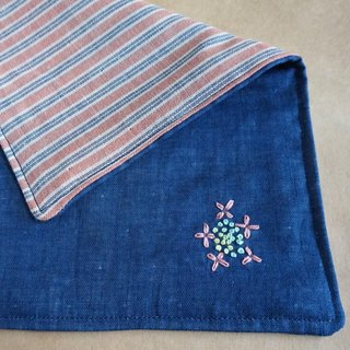 "Hand embroidered quadruple gauze handkerchief ""Hydrangea 2""[order-receiving production]"