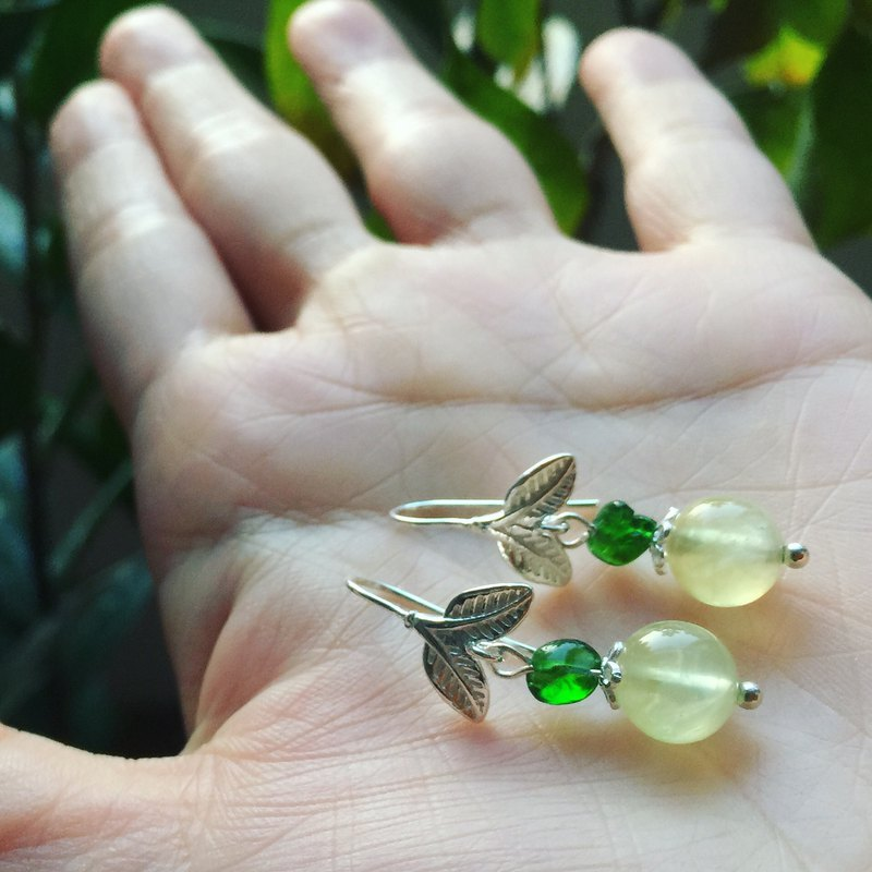 || 青 Apple || 15% Off New Year's Natural Green Diopside / Grape / 925 Sterling Silver Earrings