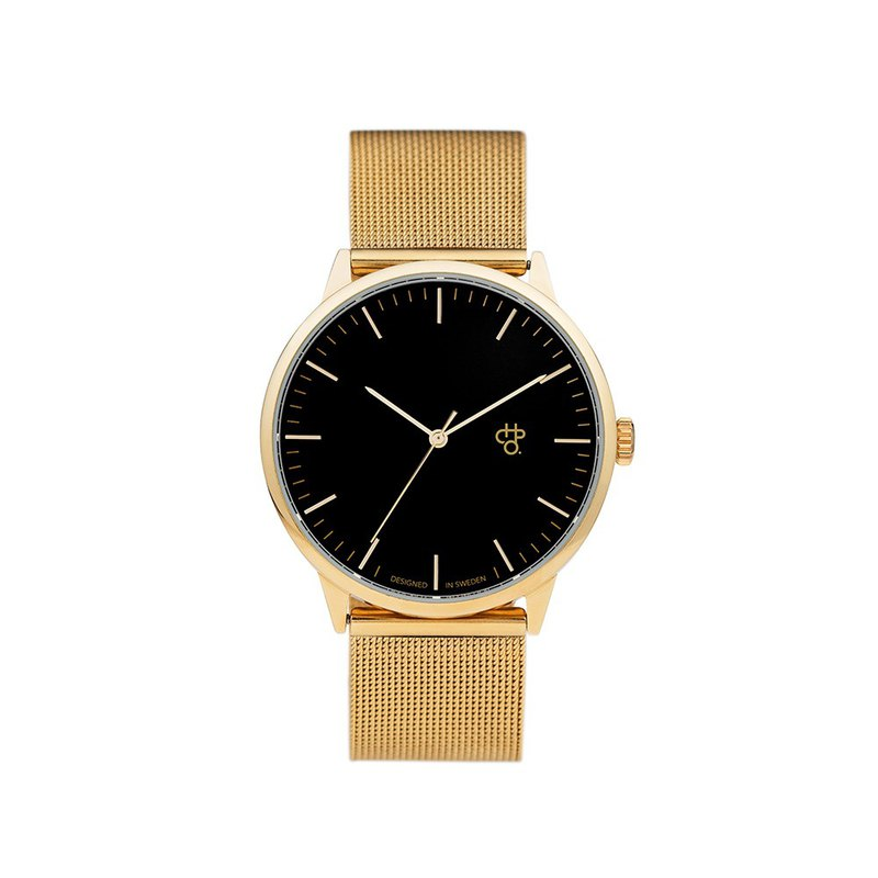 Swedish Brand - Nando Collection Gold Black Dial - Golden Milan with Adjustable Watch