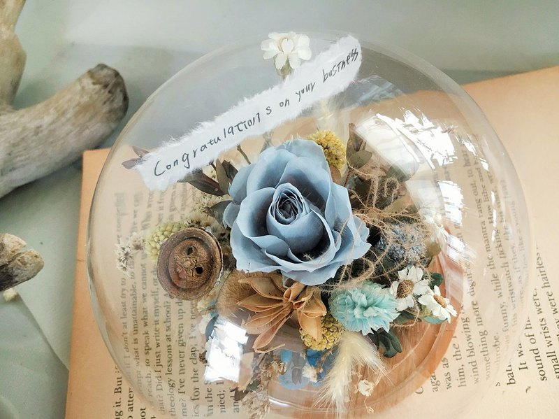[Good flower] blue is not withered rose glass flower ball dry flower ceremony Valentine's Day flower ceremony opening