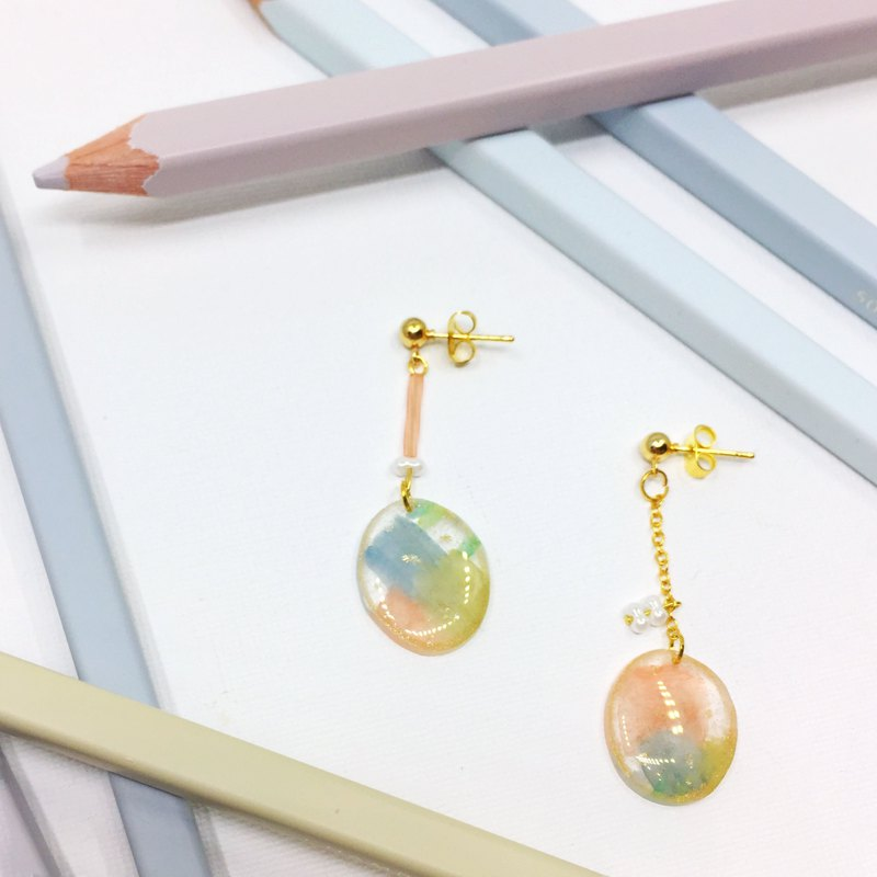My watercolor clip/needle earrings
