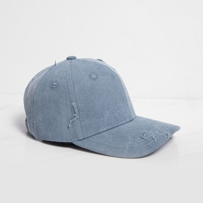 Brushed style baseball cap blue gray - customized