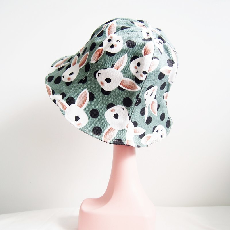 Rabbits on Grass - Handmade Bucket Hat | Double sided