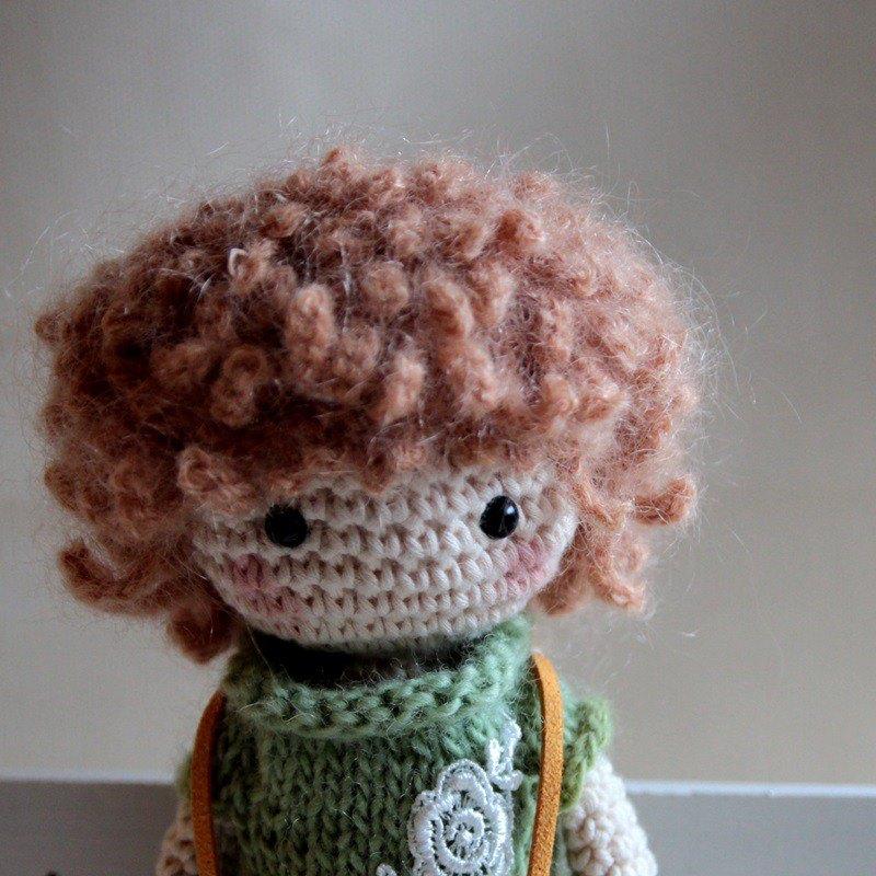 Amigurumi crochet doll: Pink Short Knitting Doll, bib pants boy, Brown Hair