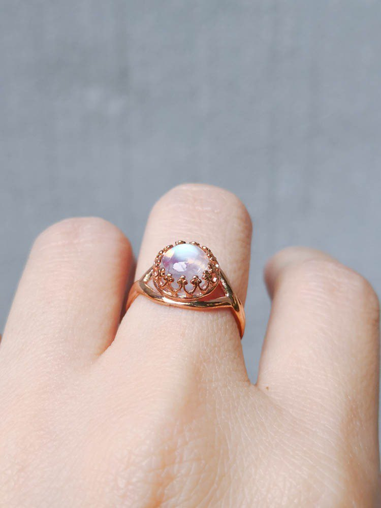 Rainbow Moonlight Lace Ring 7mm