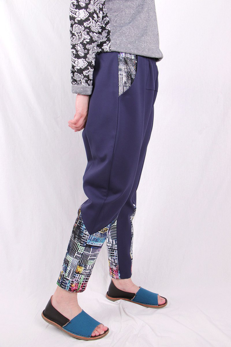 Zigzag color block stitching trousers / T2155