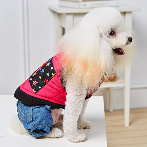 Pet clothes cotton lapel vest (pink)