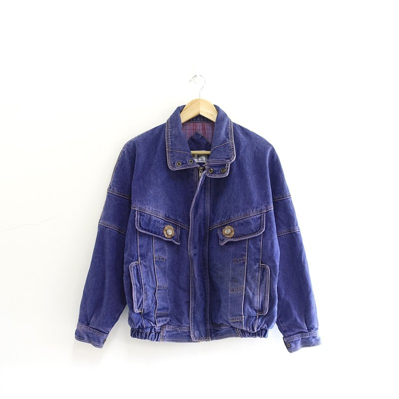 │Slowly│ retro styling. Purple blue - vintage denim jacket │ Ł retro.