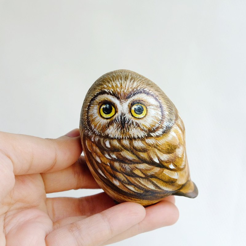 Owl stone painting.original art.